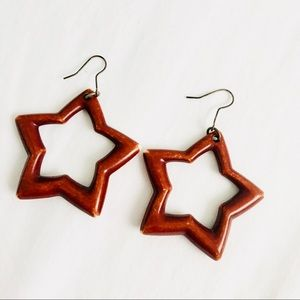 🌟 Wooden Star Fashion Statement Earring